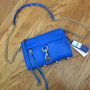NWT Rebecca Minkoff Leather  Bright Blue Mini Mac